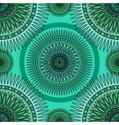 Seamless emerald pattern with oriental mandalas vector
