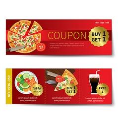 Set food coupon discount template design vector