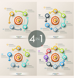 Set of 4 modern infographic design templates vector