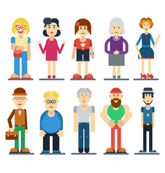 set of funny cute people cartoon vector image vector image