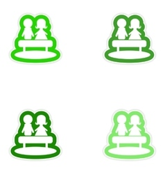 Set of paper stickers on white background boy girl vector