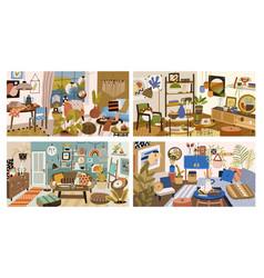Set various modern interior design living vector