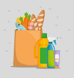 Shopping bag with supermarket products vector