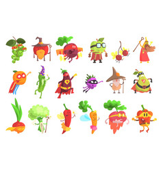 Silly fantastic fruit and vegetable characters set vector