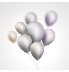 Silver balloons bunch set festive silver gray vector