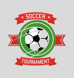 soccer tournament ball sport banner ribbon vector image