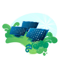 solar panels in the green fields illuminated with vector image