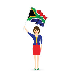 south africa flag waving woman vector image