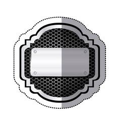 sticker heraldic metallic frame with grill vector image vector image