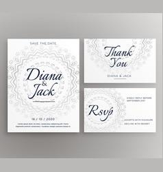 Stylish mandala wedding decoration card suite vector