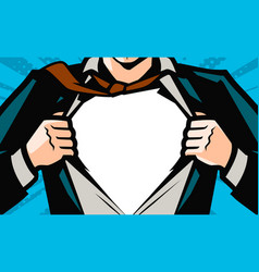superhero businessman tearing his shirt business vector image
