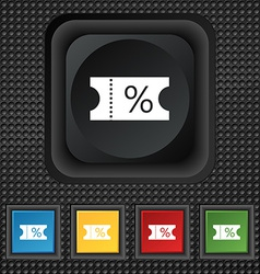 Ticket discount icon sign symbol squared colourful vector