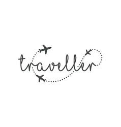 Traveller logo concept lettering traveler vector