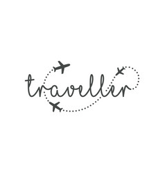 traveller logo concept lettering traveler with vector image