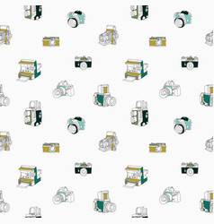 trendy seamless pattern with hand drawn half vector image