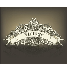 vintage floral with scroll vector image