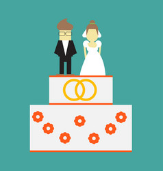 Wedding cake with rings and toppers bride and vector
