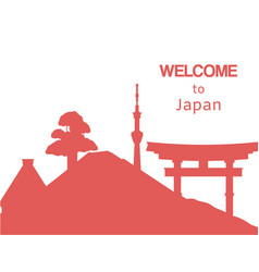 welcome to japan travel background with japanese vector image