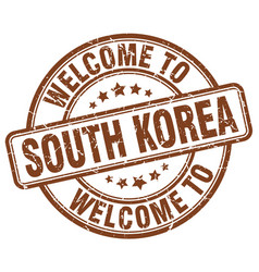 Welcome to south korea brown round vintage stamp vector