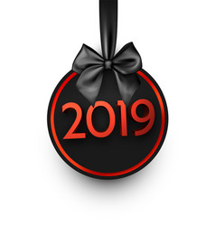 white and red 2019 new year card with black satin vector image