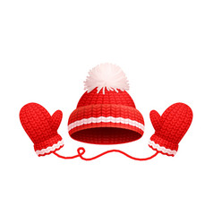 winter warm red hat white pom-pom knitted gloves vector image