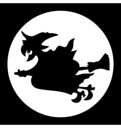 Witch flying over the moon vector image