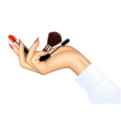 Womans hand holding makeup items vector