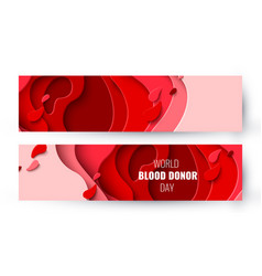 World blood donor day paper cut background vector