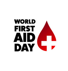 world first aid day holiday concept template vector image