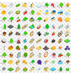 100 agriculture icons set isometric 3d style vector image vector image