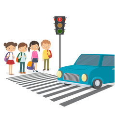 children wait for a green traffic light signal vector image vector image