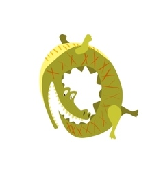 Crocodile chasing his own tail flat vector