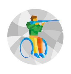 Physically disabled shooter wheelchair sport vector