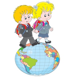 Schoolchildren going on a globe vector image