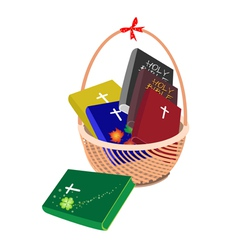 A Brown Basket with Six Holy Bible vector image vector image