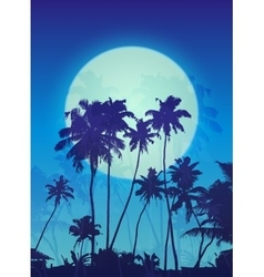 Blue moon with palm silhouettes poster background vector image vector image