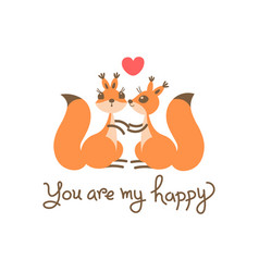 card with a couple squirrels kiss heart and vector image vector image