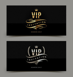 Golden and platinum vip invitation template vector