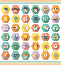 Modern Flat Education and Leisure Icons in Hexagon vector image vector image