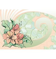 pink lilies tile mosaic vector image vector image