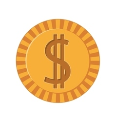 silhouette golden coins with dollar symbol vector image