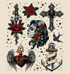 Tattoo flash set vector