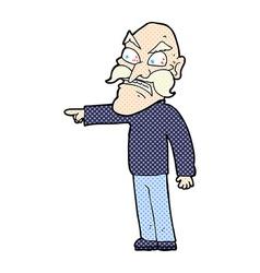 Comic cartoon furious old man vector