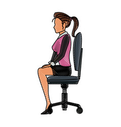 Drawing character woman business sitting chair vector