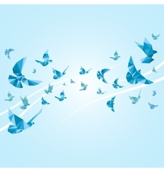 Origami paper doves abstract background vector image