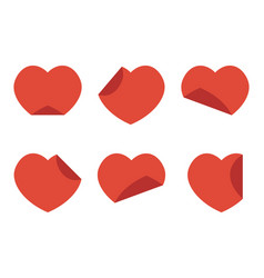 set collection of flat design red hearts stickers vector image