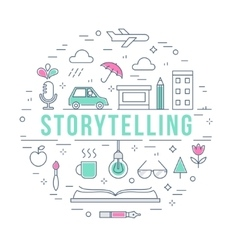Storytelling and Creative Process Concept Line vector image