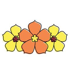 three sakura flower decoration natural vector image vector image