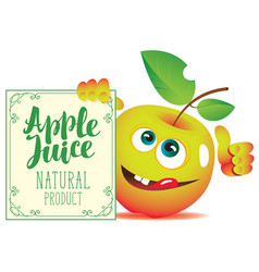 banner for apple juice with a cute character apple vector image