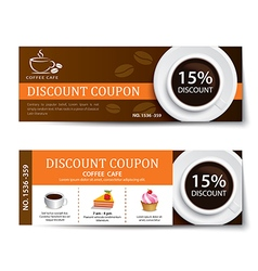 coffee coupon discount template design vector image
